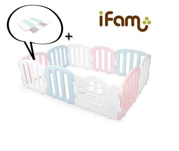 【Set】 iFam First Baby Room P+B+W + Mat  【組合】 簡約風圍欄 粉紅+藍+白  + 地墊 207x147x60cm