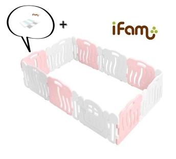 【Set】 iFam Shell Baby Room Pink (XL) + Mat  【組合】 貝殻圍欄 粉紅 (加大) + 地墊  246x149x60cm