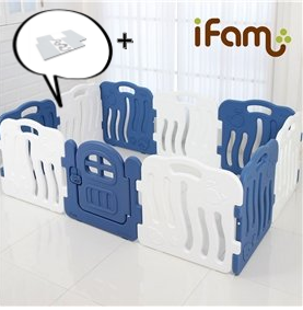 【Set】 iFam Shell Baby Room Blue (L) + Mat  【組合】 貝殻圍欄 藍 (大) + 地墊  198x13