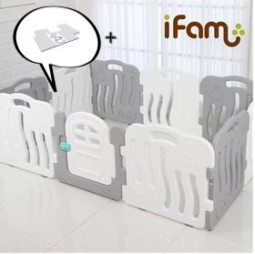 【Set】 iFam Shell Baby Room Grey (L) + Mat  【組合】 貝殻圍欄 灰 (大) + 地墊  198x133x60cm