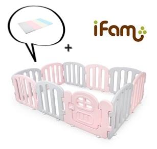 【Set】 iFam First Baby Room PG + Mat  【組合】 簡約風圍欄 粉紅  + 地墊 207x147x60cm
