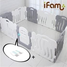 【Set】 iFam Shell Baby Room Grey (XL) + Mat  【組合】 貝殻圍欄 灰 (加大) + 地墊  246x149x60cm