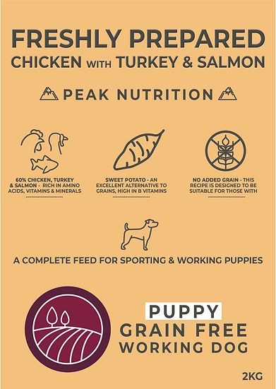 Borders Grain Free Puppy Food Chicken with Turkey & Salmon 2kg