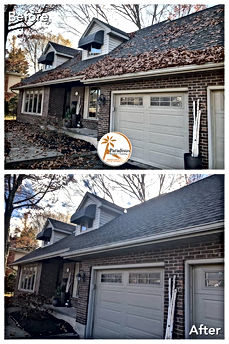 professional gutter cleaning before and after photo