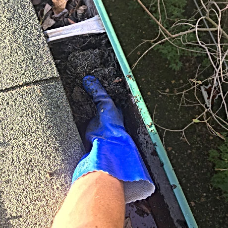 Jonathan Bentum Cleaning Debris Out Of Gutters