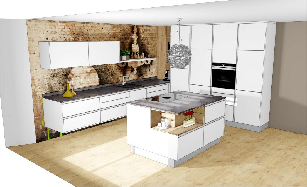 Brigitte Küche, Hochschranklösung mit schwebender Zeile und Insel