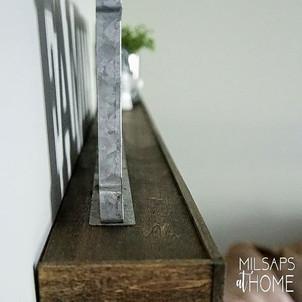 Side profile of Custom Built Wood Floating Shelves
