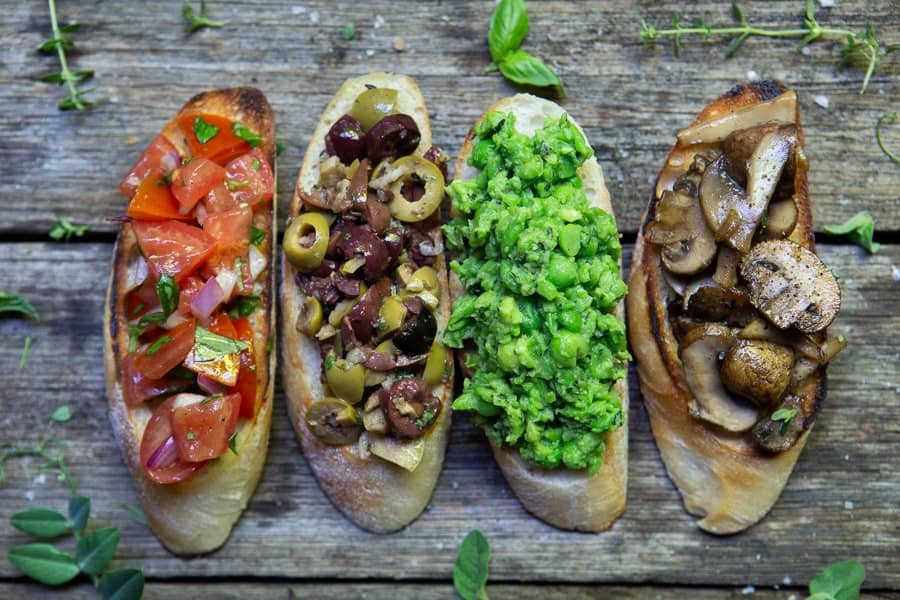 Vegan-Bruschetta-Toppings-Done-Four-Ways