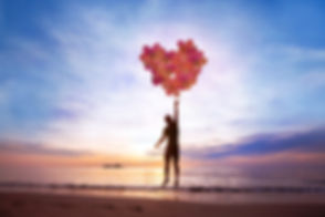 love concept, man flying with heart from