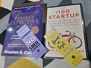The $100 Startup: Reinvent the Way You Make A Living by Chris Guillebeau, and  The 7 Habits of Highly Effective People by Stephen Covey
