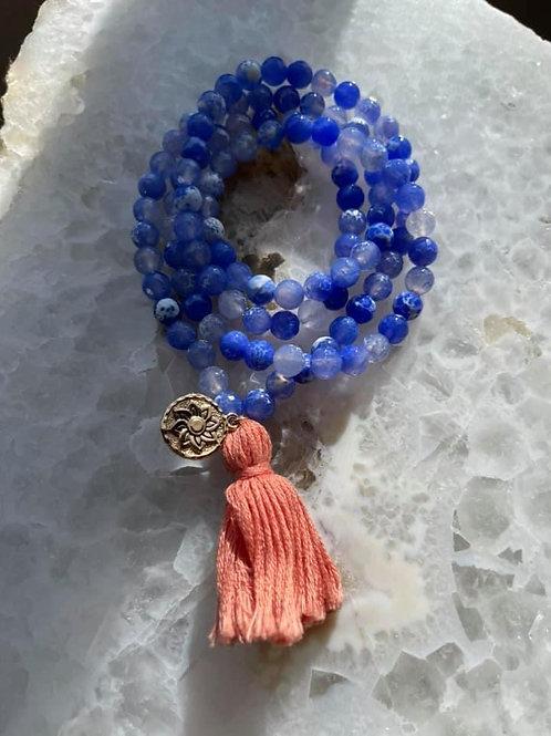 Blue Agate Stretch Mala