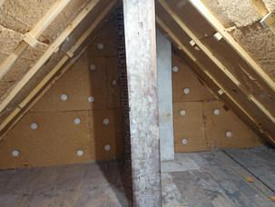 Isolation des rampants par contre chevronnage de fibre de bois R= 6m².k/W, Gagny