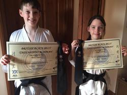 Teagan and Riley Black belt