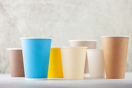 Set of colorful paper coffee  cups  on a