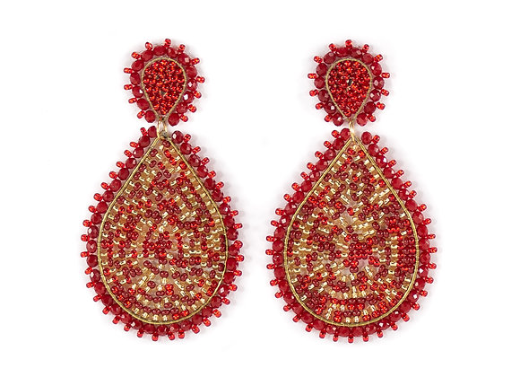 Red multi woven Earrings 12-20