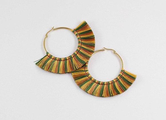 Green & brown threads tasseled earrings 12-13