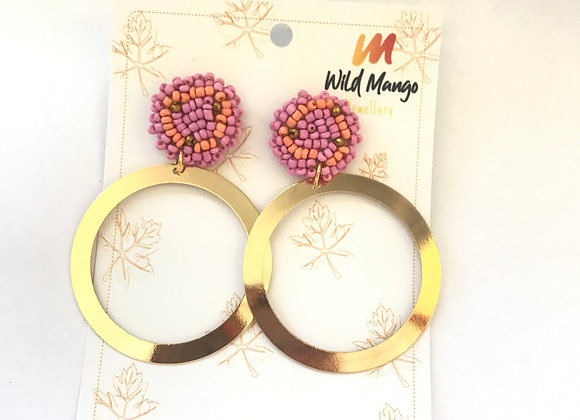 Pink ring woven earrings 12--32