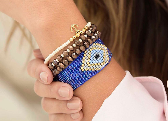 Blue eye woven bracelet set 187-100