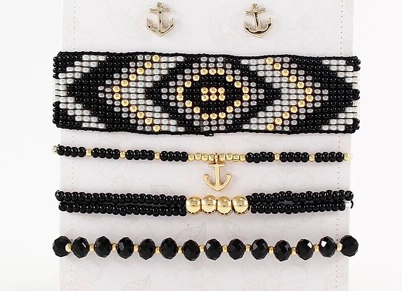 Black & Gold woven bracelet set 187-107