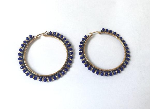 Blue round hoop woven earrings 12-40
