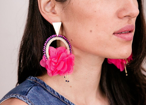 Pink woven iraka earrings 12-29