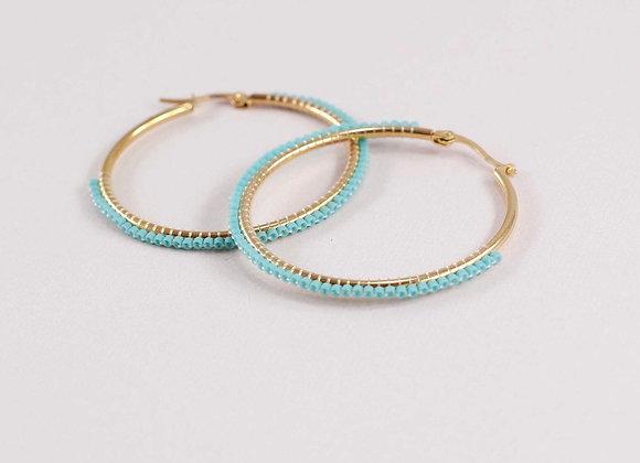 Green woven Miyuki earrings 12-15