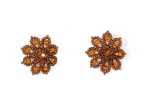Brown flower woven earrings 12-21