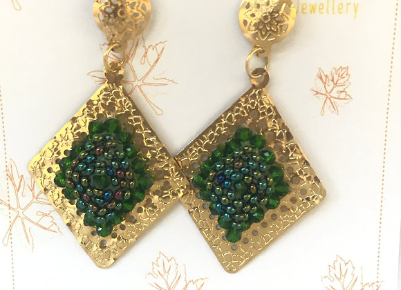 Green triangle woven earrings