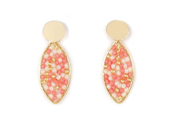 Coral woven mini drop earrings 12-22