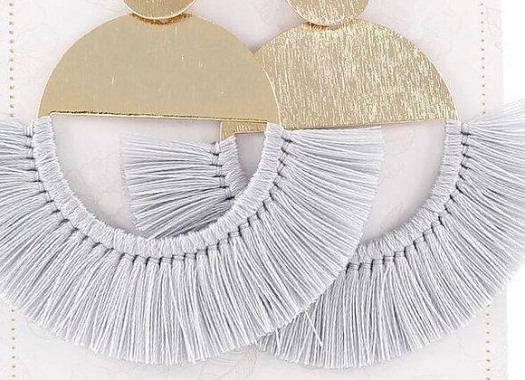 Gray threads tasseled earrings 12-17