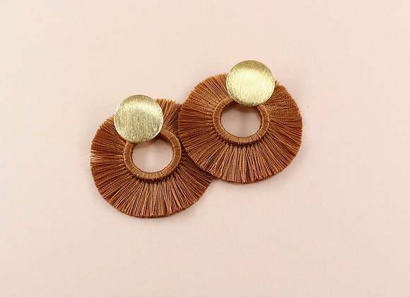 Brown threads tasseled earrings 12-12