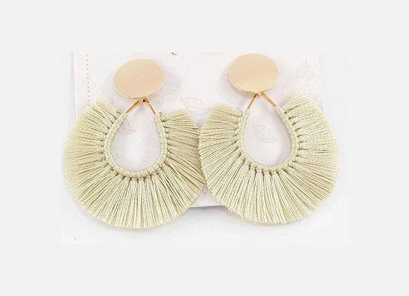 Beige threads tasseled earrings 12-25