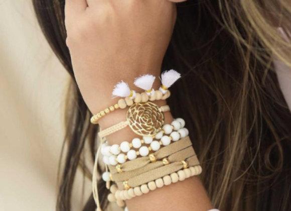 White rose Bracelet set 187-101