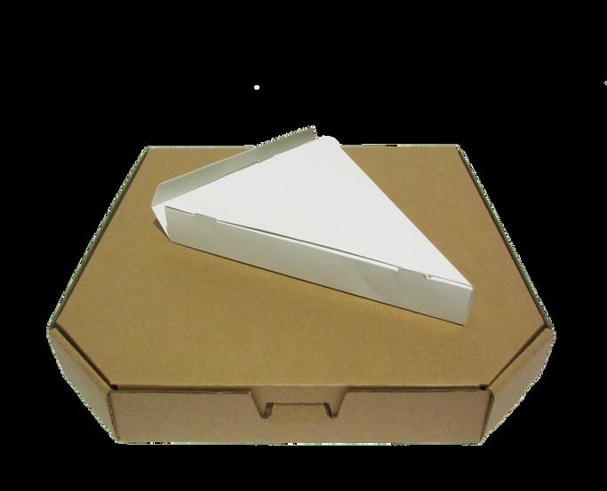"Pizza con diseño hexagonal irregular y caja para rebanada Tamaño: -Chica -Mediana -Grande   Material: -Microcorrugado -Flauta ""B""  Linner: -Kraft -Blanco  Caja para rebanada de pizza triangular  Material: -Sulfatado -Caple  Con o sin impresión"