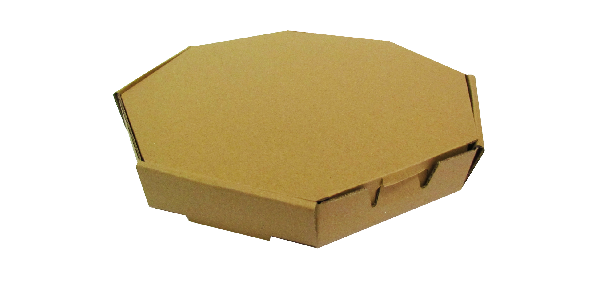 "Pizza con diseño octagonal  Tamaño: -Chica -Mediana -Grande  Material: -Microcorrugado -Flauta ""B"" -Flauta ""C""  Linner: -Kraft -Blanco  Con o sin impresión"