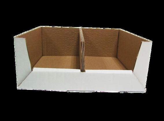 """Exhibidor cielo abierto con una ventana y divisor de acuerdo a las medidas que se acomoden a sus necesidades asi como el tipo de material y linner exterior  Material: -Flauta """"B"""" -Flauta """"C"""" -Flauta """"E""""  DOBLE CORRUGADO -Flauta """"BC"""" -Flauta """"BE""""  Linner exterior: -Blanco -Kraft  Con o sin impresión"""
