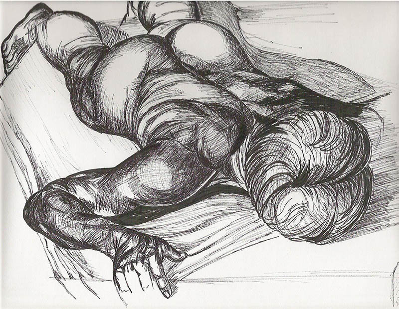 nude male ink drawing