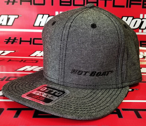 HOT BOAT SNAP BACK. DARK HEATHER GRAY WITH BLACK EMBROIDERED LOGO