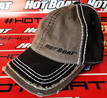 HOT BOAT BLACK AND GRAY WASHED LOOK HAT WITH BLACK EMBROIDERED LOGO
