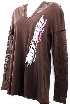 WOMENS HOT BOAT LS BURN OUT (BROWN)