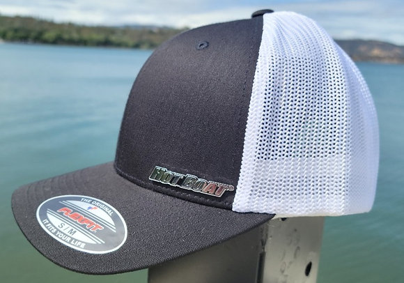 HOT BOAT BLACK & WHITE TWO TONE FLEXFIT HAT
