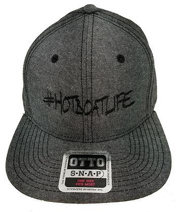 #HOTBOATLIFE DARK HEATHER GRAY SNAP BACK CAP WITH BLACK LOGO