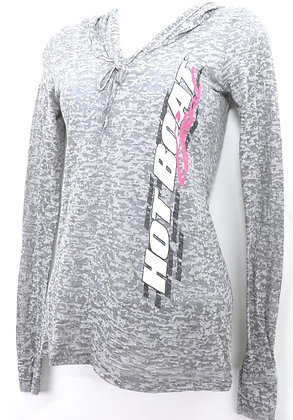 WOMENS HOT BOAT LS BURN-OUT TOP (LIGHT GRAY)