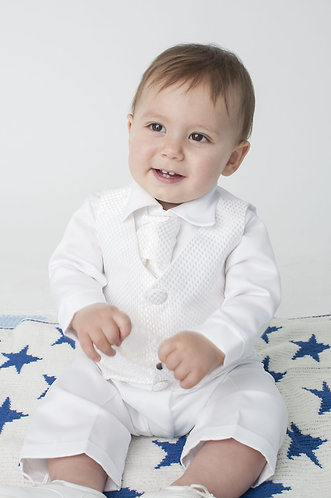 White checked waistcoat suit