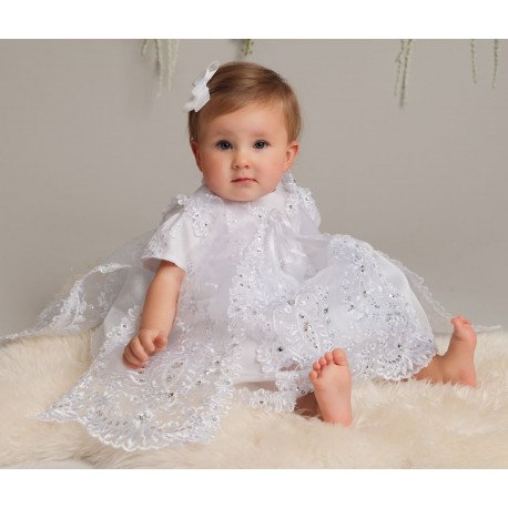 Dress with overlay and Bonnet