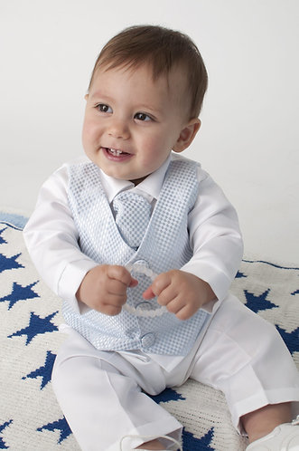 Blue checked Waistcoat suit