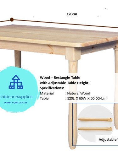 Wood - Table (Rect - Adjustable Height).