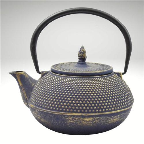 Arare Cast Iron Teapot [Blue/Gold] (40oz)