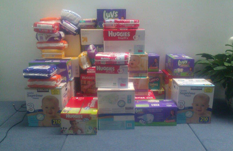Pile of donated diapers