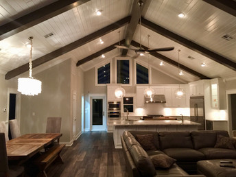 Open living area with high ceilings